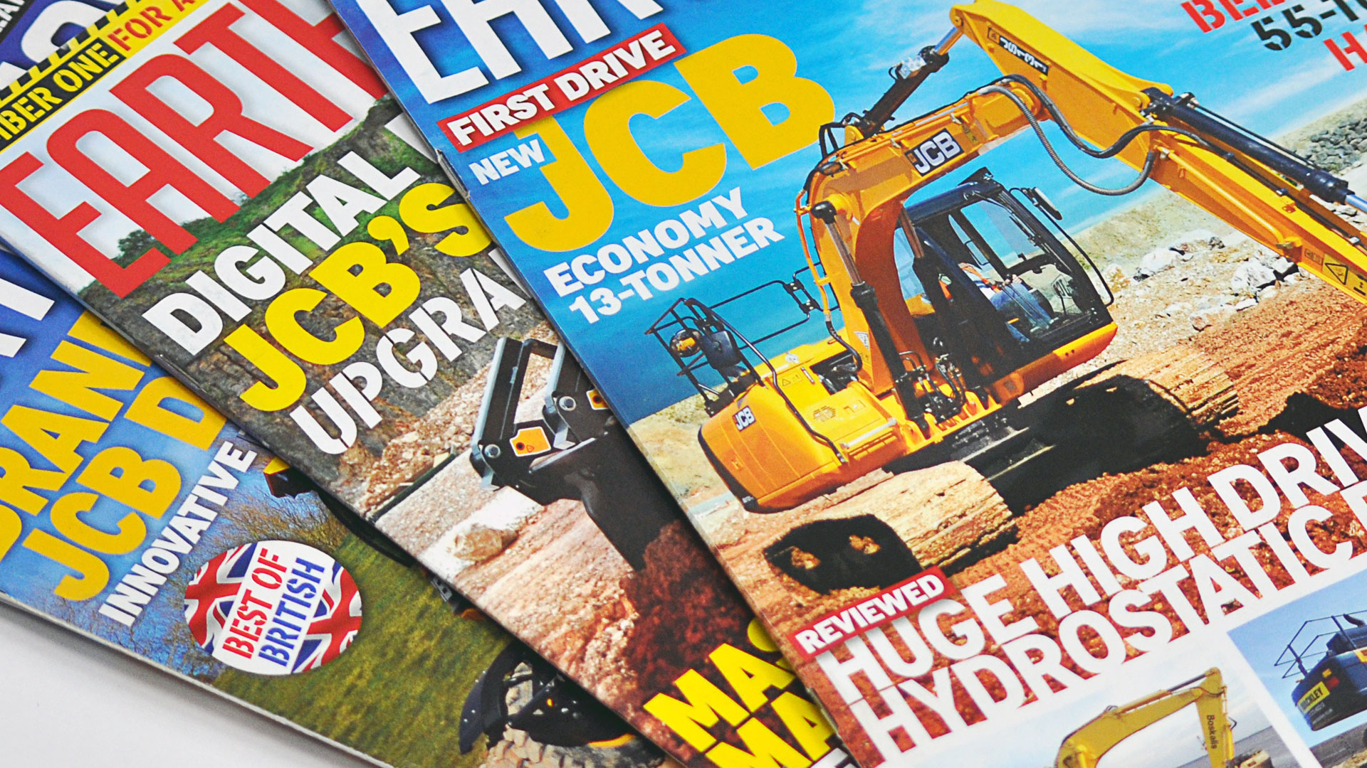 Earthmovers magazine covers featuring JCB